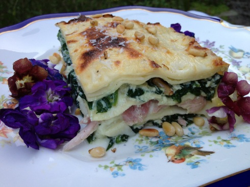 Three Cheese Bacon and Spinach Lasagne
