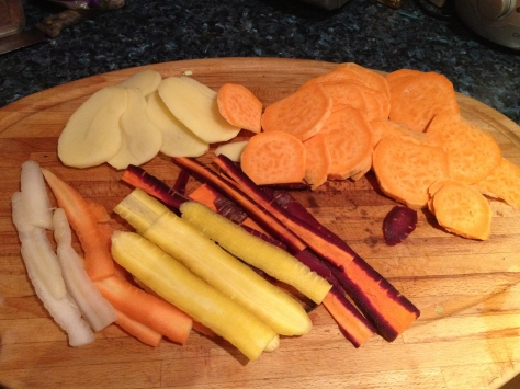 Rainbow Carrots & Potatoes Finely Sliced