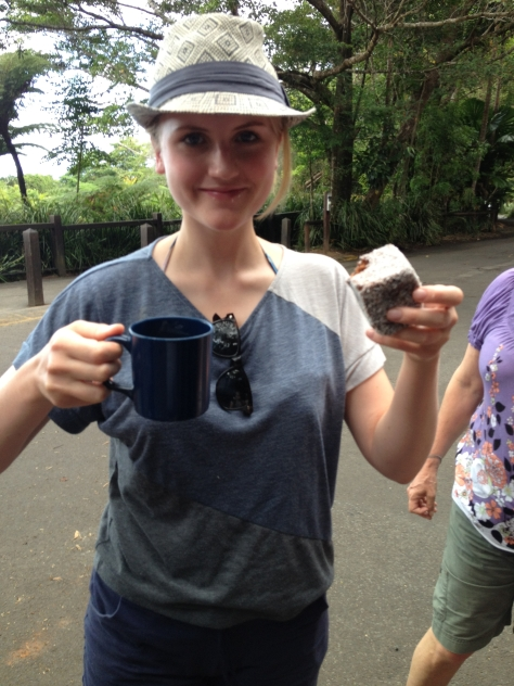 Enjoying My First Lamington in Australia