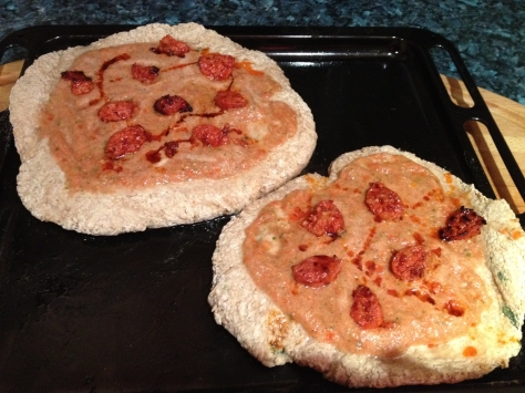 Top Pizza with Sauce, Chorizo and Chorizo Oil
