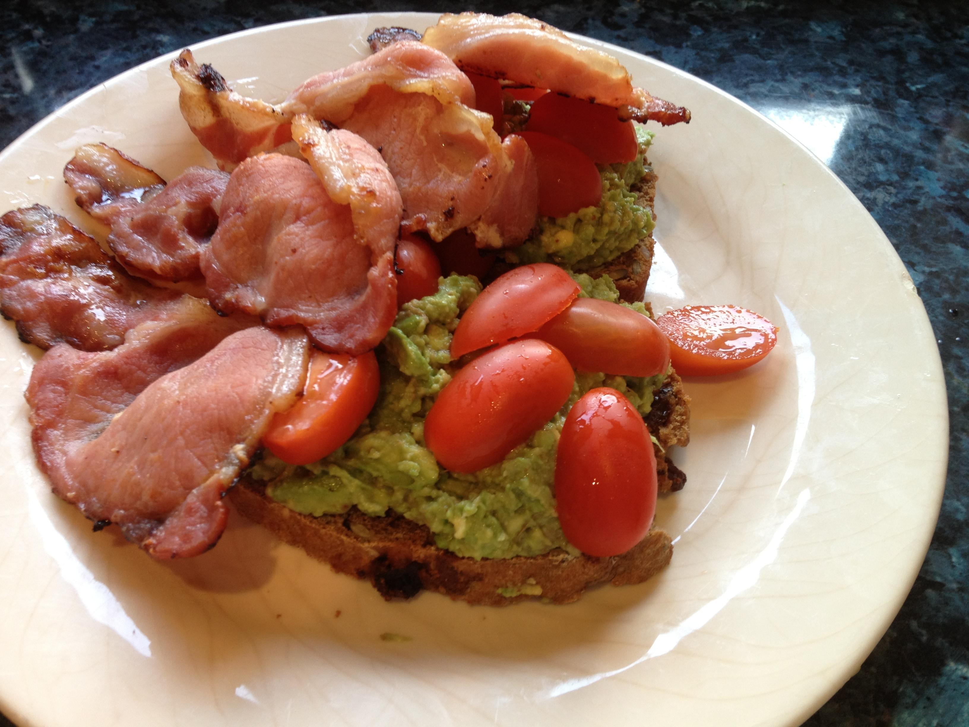 Avocado-Bacon Toasts Recipe — Dishmaps