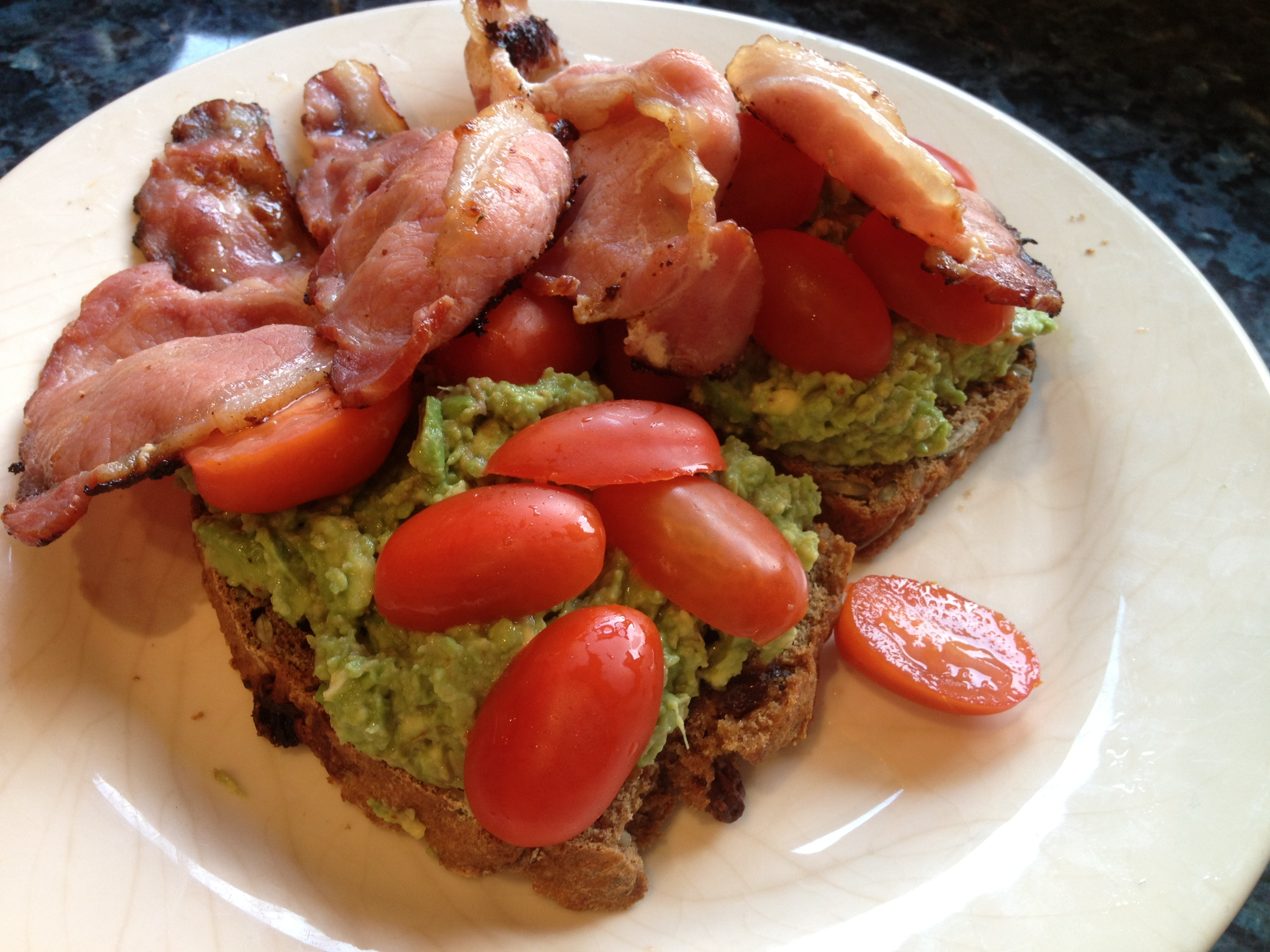 ... Juicy Cherry Tomatoes Delicious Bacon Avocado Toast Lady Sized Portion