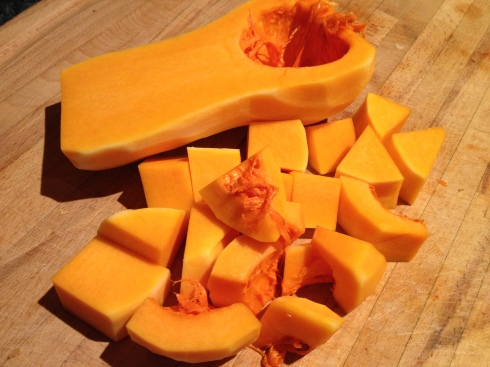 Chop Squash into Equal Sized Cubes