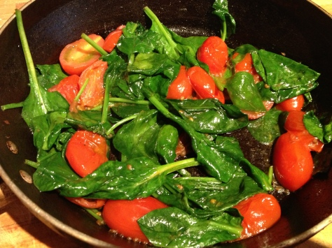 Fry Tomatoes and Wilt Spinach