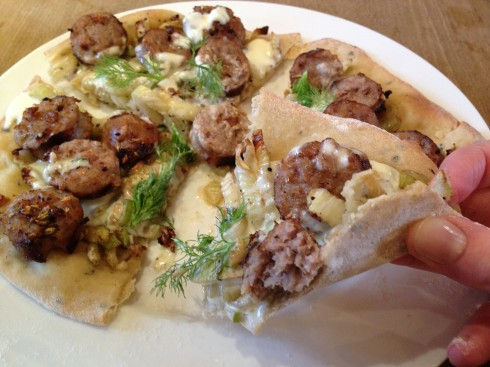 Sausage, Fennel and Mascarpone Pizza
