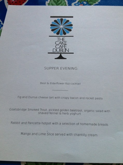 Cake Cafe Supper Club Menu