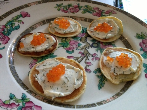 Goatsbridge Caviar and Dill Creme Fraiche Blinis