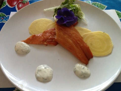 Goatsbridge Smoked Trout, Pickled Golden Beetroot, Organic Salad with Shaved Fennel and Herb Yoghurt