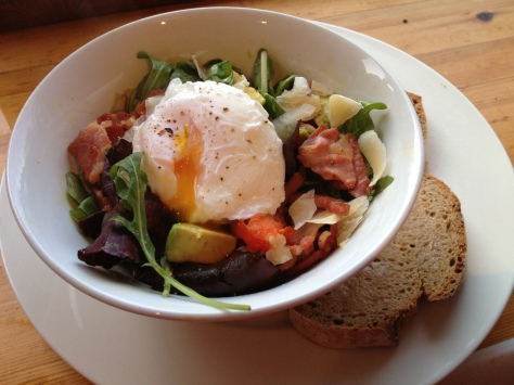 Warm Poached Egg and Bacon Salad