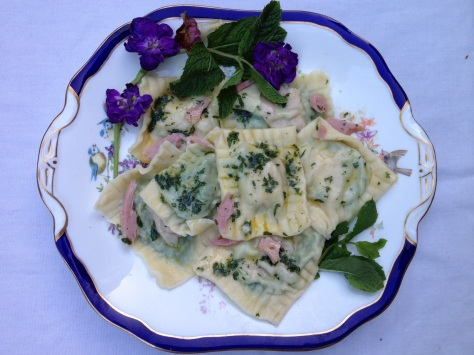 Beautiful Mint Pea and Ham Ravioli
