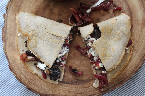 Black Pudding, Goats Cheese & Caramelised Onion Savoury Crepe