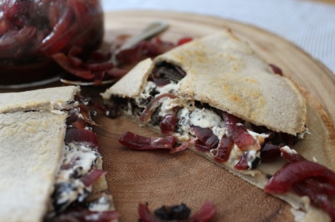 Black Pudding, Goats Cheese and Caramelised Onion Crepe