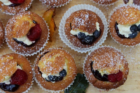 Mixed Berry Jam and Cream Fairy Cakes