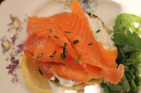 Smoked Salmon With Spring Onion and Chive Potato Cakes