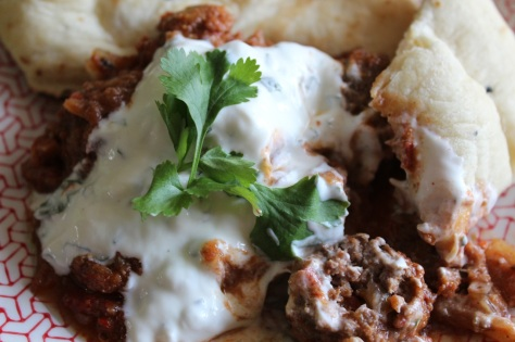 Spicy Tomato Beef Meatballs with Cooling Mint Yoghurt Sauce