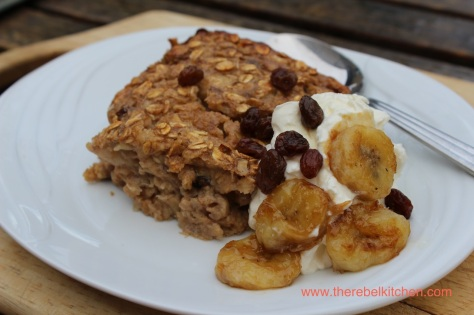 Banana Baked Oatmeal with Greek Yoghurt and Caramelised Bananas