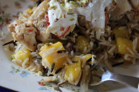 Chicken Skewers and Mango Pistachio Fried Rice