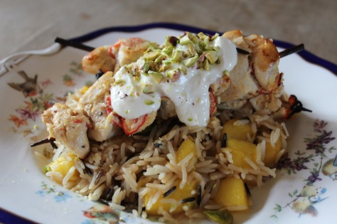 Delicious Indian Chicken Skewers with Mango Fried Rice
