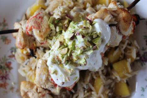 Top Chicken Skewers With Yoghurt and Pistachio
