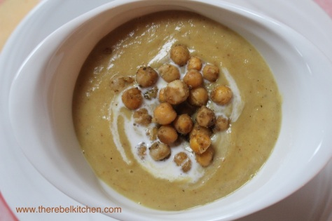 Curried Cauliflower Soup with Roasted Chickpeas