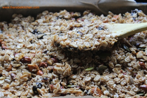 Pat Down The Granola Bar Ingredients Into The Tray