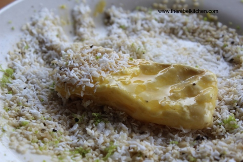 After Dipping Fish Fingers in Flour, Dip in Egg, and Finally in Crumbs