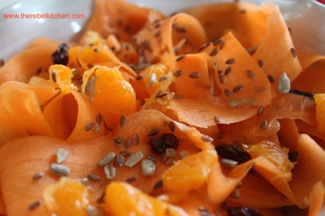 Carrot, Clementine, Mixed Seed & Raisin Salad