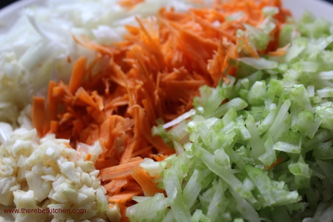 Finely Dice Your Carrots, Onion, Celery and Garlic