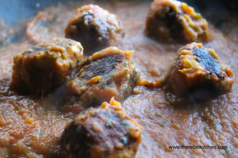 Meatballs Bathing In Delicious Roast Tomato Sauce... A Sight To Behold