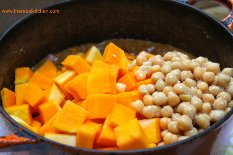 Add The Squash And Chickpeas To The Pot