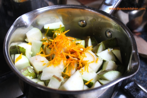 Add Your Fresh Ginger And Orange Zest And Let Simmer Away