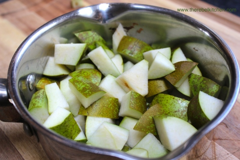 Chop Up Your Pears And Throw Into A Pot With A Little Water