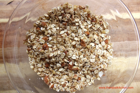 Mix Together Your Oats, Nuts And Melted Coconut Oil Until Combined