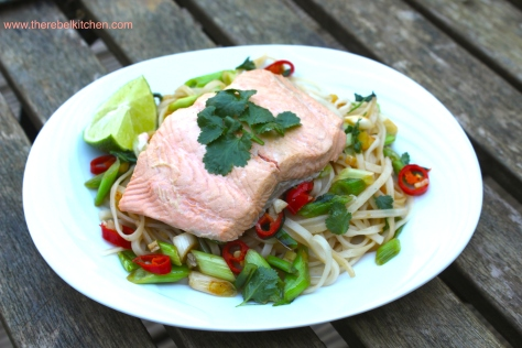 Poached Salmon And Rice Noodle Salad